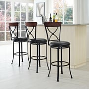 Crosley Pruitt Swivel Bar Stool in Black with Black Cushion (CF521230BK-BK)