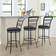 Crosley Shelburne Swivel Bar Stool in Grey with Black Cushion (CF521330GY-BK)