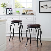 Crosley Kemper Swivel Counter Stool in Black with Brown Cushion (CF521626BK-BR)