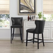 Crosley Tilson Counter Stool in Black with Black Cushion (CF521826BK-BK)