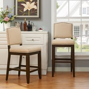 Crosley Bryson Counter Stool in Mahogany with Oatmeal Cushion (CF521926MA-OL)