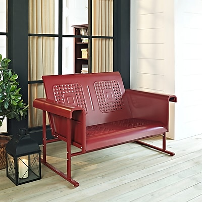 Crosley Veranda Loveseat Glider In Coral Red (CO1004A-RE)