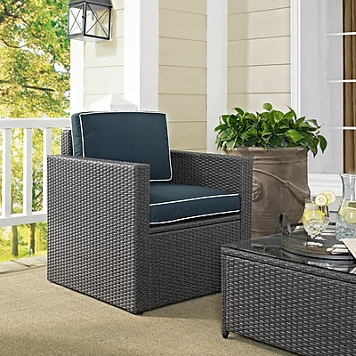 Crosley Palm Harbor Outdoor Arm Chair In Grey Wicker With Navy Cushions (CO7102WG-NV)