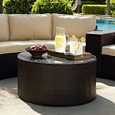 Crosley Catalina Outdoor Wicker Round Glass Top Coffee Table (CO7121-BR)