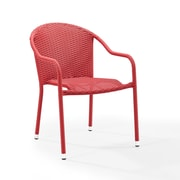 Crosley Palm Harbor Outdoor Wicker Stackable Chairs - Set Of 2 Red (CO7137-RE)