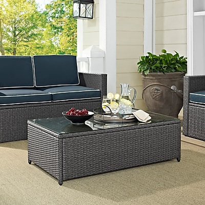 Crosley Palm Harbor Outdoor Wicker Glass Top Table In Grey Wicker (CO7201-WG)