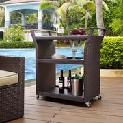 Crosley Palm Harbor Outdoor Wicker Bar Cart (CO7213-BR)