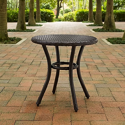 Crosley Palm Harbor Outdoor Wicker Round Side Table In Brown (CO7217-BR)