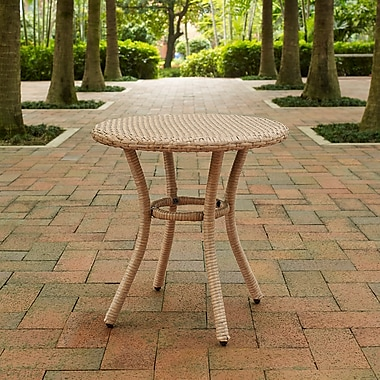 Crosley Palm Harbor Outdoor Wicker Round Side Table In Light Brown (CO7217-LB)