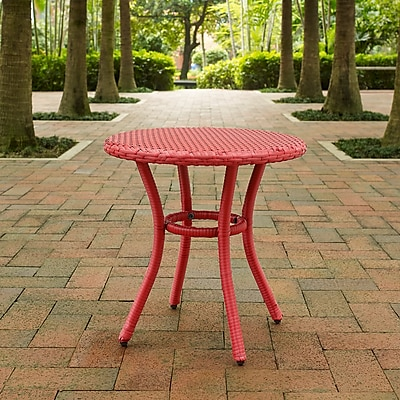 Crosley Palm Harbor Outdoor Wicker Round Side Table In Red (CO7217-RE)