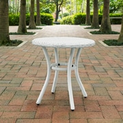 Crosley Palm Harbor Outdoor Wicker Round Side Table In White (CO7217-WH)