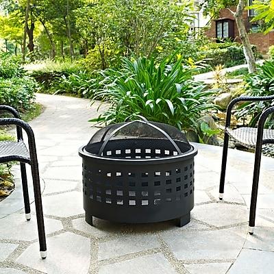 Crosley Hudson Basket Weave Firepit in Black (CO9009A-BK)