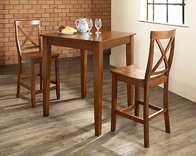 Crosley 3 Piece Pub Dining Set With Tapered Leg And X-Back Stools In Classic Cherry Finish (KD320005CH)