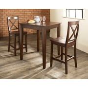 Crosley 3 Piece Pub Dining Set With Tapered Leg And X-Back Stools In Vintage Mahogany  Finish (KD320005MA)