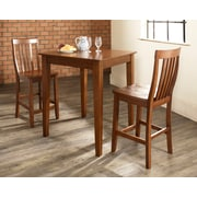 Crosley 3 Piece Pub Dining Set With Tapered Leg And School House Stools In Classic Cherry  Finish (KD320007CH)