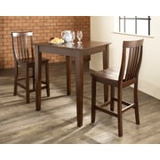 Crosley 3 Piece Pub Dining Set With Tapered Leg And School House Stools In Vintage Mahogany  Finish (KD320007MA)