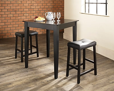 Crosley 3 Piece Pub Dining Set With Tapered Leg And Upholstered Saddle Stools In Black Finish (KD320008BK)