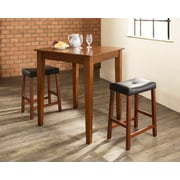 Crosley 3 Piece Pub Dining Set With Tapered Leg And Upholstered Saddle Stools In Classic Cherry  Finish (KD320008CH)