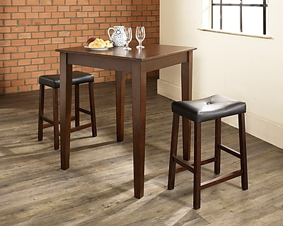 Crosley 3 Piece Pub Dining Set With Tapered Leg And Upholstered Saddle Stools In Vintage Mahogany Finish (KD320008MA)