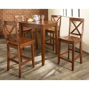 Crosley 5 Piece Pub Dining Set With Tapered Leg And X-Back Stools In Classic Cherry  Finish (KD520005CH)