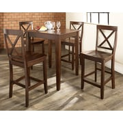 Crosley 5 Piece Pub Dining Set With Tapered Leg And X-Back Stools In Vintage Mahogany  Finish (KD520005MA)