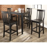Crosley 5 Piece Pub Dining Set With Tapered Leg And School House Stools In Black Finish (KD520007BK)