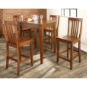 Crosley 5 Piece Pub Dining Set With Tapered Leg And School House Stools In Classic Cherry  Finish (KD520007CH)