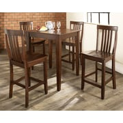 Crosley 5 Piece Pub Dining Set With Tapered Leg And School House Stools In Vintage Mahogany  Finish (KD520007MA)