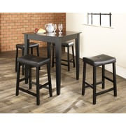 Crosley 5 Piece Pub Dining Set With Tapered Leg And Upholstered Saddle Stools In Black Finish (KD520008BK)