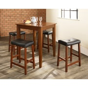 Crosley 5 Piece Pub Dining Set With Tapered Leg And Upholstered Saddle Stools In Classic Cherry  Finish (KD520008CH)