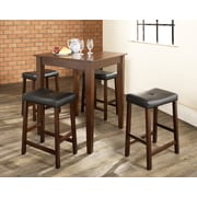 Crosley 5 Piece Pub Dining Set With Tapered Leg And Upholstered Saddle Stools In Vintage Mahogany  Finish (KD520008MA)