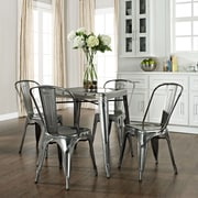 Crosley Amelia Five Piece Metal Café Dining Set - Table & Four Chairs In Galvanized (KD522001GA)
