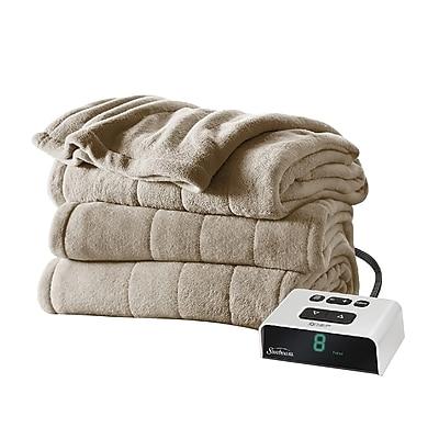 Sunbeam® Channeled Microplush Heated Blanket, Full, Mushroom (BSM9KFSR77216A0)
