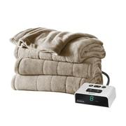 Sunbeam® Channeled Microplush Heated Blanket, Twin, Mushroom (BSM9KTSR77216A0)