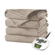 Sunbeam® Velvet Plush Heated Blanket, King, Mushroom (BSV9GKSR77212A4)