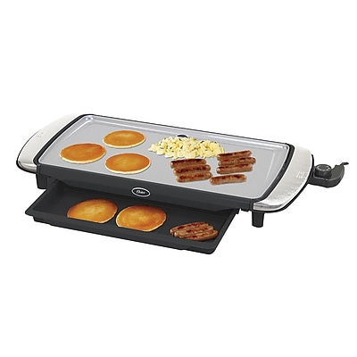 Oster® DuraCeramic™ Titanium Infused Electric Griddle with Warming Tray, Silver (CKSTGRFM20TECO)