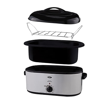 Oster® 22 qt Roaster Oven with Self-Basting Lid and Defrost Setting, Stainless Steel (CKSTRS23-SB-D)