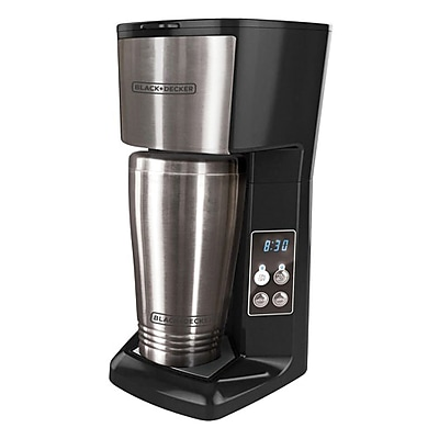 Black & Decker® CM625B 2 Cup Single Serve Coffee Maker, Black/Stainless Steel