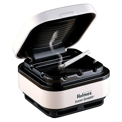 Holmes® Smoke Grabber® Ashtray and Odor Eliminator, White/Black (HAP75UC2)