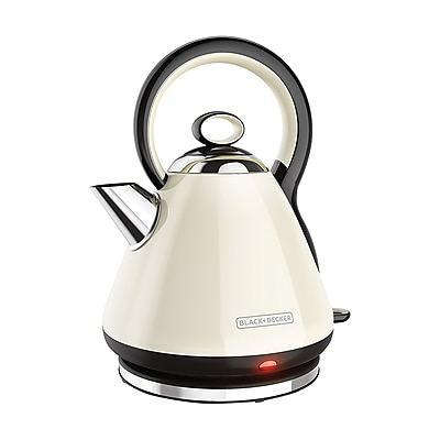 Black & Decker® 1.7 L Stainless Steel Cordless Electric Kettle, Cream (KE2900CR)