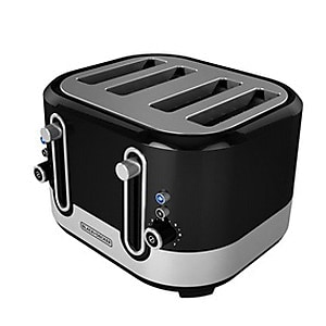 Black & Decker® 4-Slice Extra-Wide Slot Toaster, Black/Silver (TR4200SBD)
