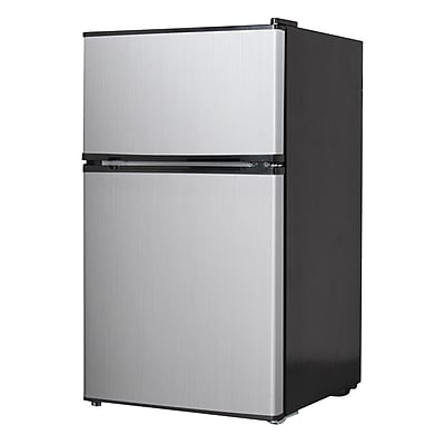 Midea® 3.5 cu. ft. Double Reversible Door Compact Refrigerator, Black/Stainless Steel (WHD125FSS1)