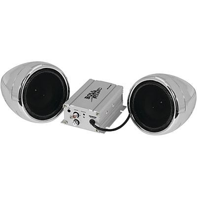 Boss Audio Systems Mc420B 600-Watt Motorcycle/All-Terrain Speaker & Amp System, Silver, With Bluetooth Audio Streaming