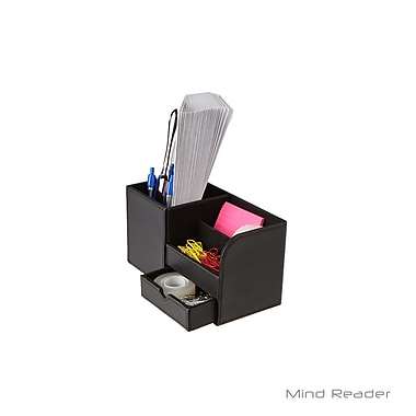 Mind Reader Faux leather 3 Compartment Desk Organizer, Black (2SQORG-BLK)