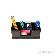 Mind Reader Faux Leather 4 Compartment Desk Organizer, Black (3DORG-BLK)