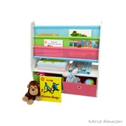Mind Reader Book Shelf with 2 Collapsible Drawers, Gray (4KBORG2D-GRY)