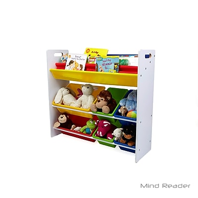 Mind Reader Fabric Sling Book Shelf and Toy Organizer, White (BOOKTOY-WHT)
