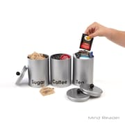 Mind Reader 3 Piece Sugar,Tea,Coffee Round Canister Set, Silver (CANMATT3-SIL)