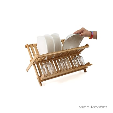 Mind Reader Bamboo Dish Drying Rack, Brown (DDRACKBM-BRN)
