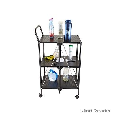 Mind Reader 3 Tier Metal Shelf Foldable Cart, Black (FOLDCART3-BLK)